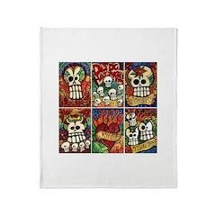 Day of the Dead Sugar Skulls Throw Blanket