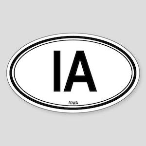 Iowa (IA) euro Oval Sticker