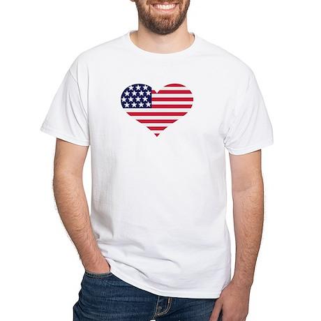 US flag heart White T-Shirt