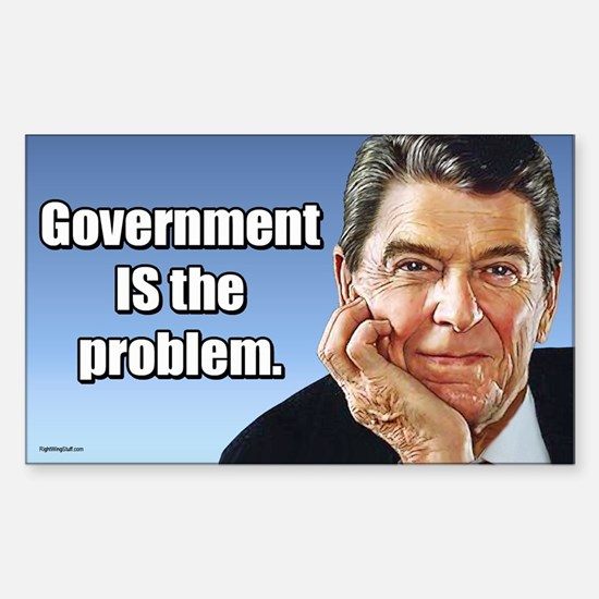 Reagan - Gov't. is the Problem Sticker (Rectangle)