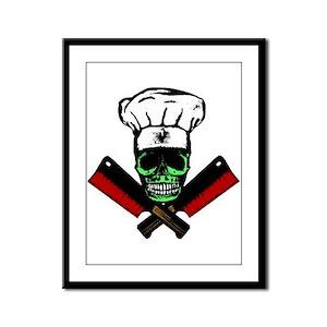 Chef Skull--Green Framed Panel Print