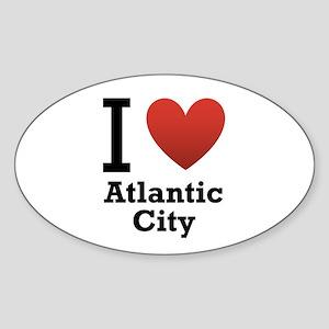I Love Atlantic City Sticker (Oval)