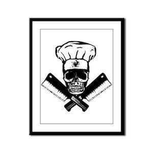 Chef Skull--B&W-- Framed Panel Print