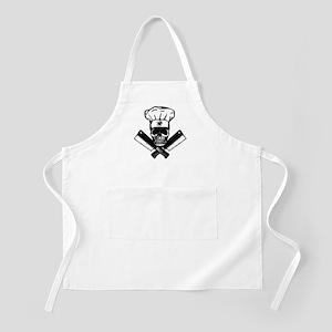 Chef Skull--B&W-- Apron
