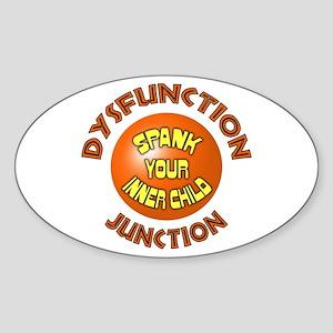 Dysfunction Junction Spank Yo Oval Sticker