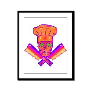 Chef Skull-Psychedelic Framed Panel Print