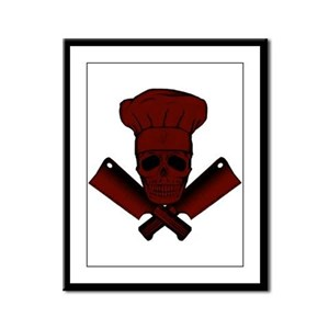 Chef Skull--dark red-- Framed Panel Print