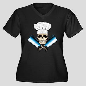 Chef Skull--Color 1-- Women's Plus Size V-Neck Dar
