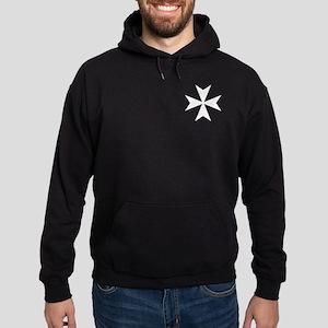 White Maltese Cross Hoodie (dark)