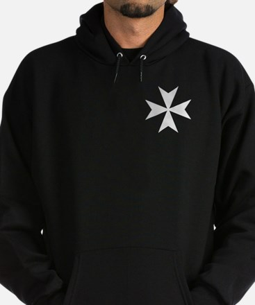 White Maltese Cross Hoodie (dark)