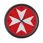 White Maltese Cross Large Wall Clock