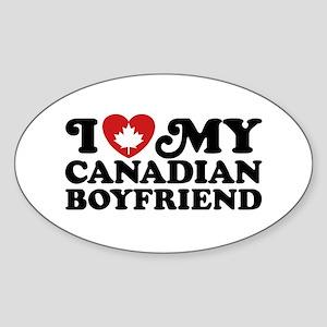 I Love My Canadian Boyfriend Sticker (Oval)