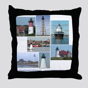 Massachusetts Lighthouses Throw Pillow