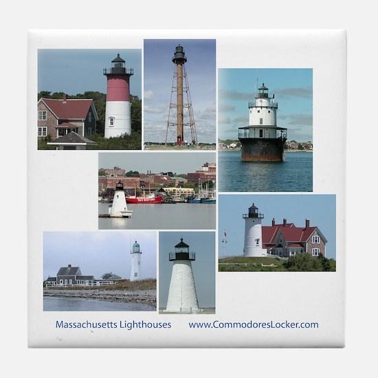 Massachusetts Lighthouses Tile Coaster