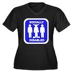 Socially Disabled Women's Plus Size V-Neck Dark T-