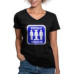 Socially Disabled Women's V-Neck Dark T-Shirt
