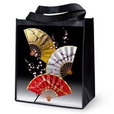 Japanese Cherry Fans Reusable Grocery Tote Bag