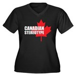 Canadian stereotype Women's Plus Size V-Neck Dark