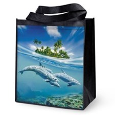 Tropical Island Fantasy Reusable Grocery Tote Bag