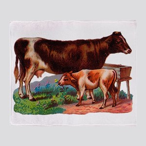 Cow And Calf Throw Blanket