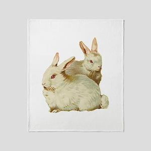 Two White Bunnys Throw Blanket