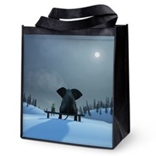 Dog And Elephant Friends Reusable Grocery Tote Bag