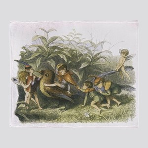 Fairies playing with a Robin Throw Blanket