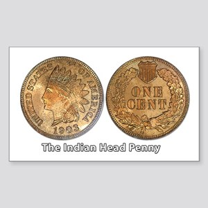 Indian Head Penny Double-Sided Sticker (Rectangula