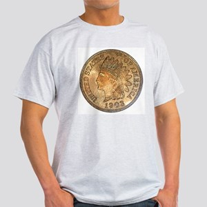 Indian Head Penny Double-Sided Ash Grey T-Shirt