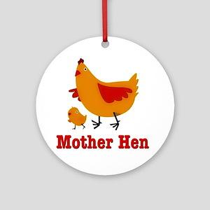 Mother Hen Chicken Ornament (Round)