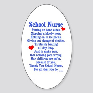 School Nurse Sticker (Oval)