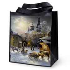 Russian Winter Painting Reusable Grocery Tote Bag