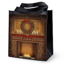 Christmas Fireplace Reusable Grocery Tote Bag