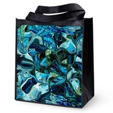 Blue Digital Abstract Reusable Grocery Tote Bag