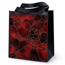 Dark Red Mosaic Reusable Grocery Tote Bag