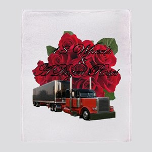 18 Wheels & A Dozen Roses Throw Blanket