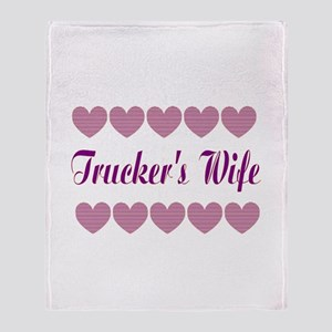 Truckers Wife With Hearts Throw Blanket