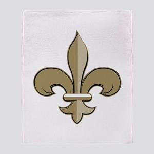 Fleur de lis black gold Throw Blanket