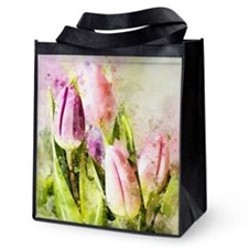 Artistic Pink Tulips Reusable Grocery Tote Bag