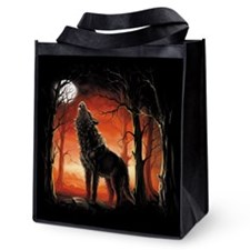 Howling Wolf At Sunset Reusable Grocery Tote Bag