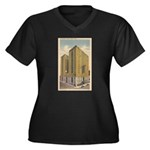 Mayflower Ho Women's Plus Size V-Neck Dark T-Shirt
