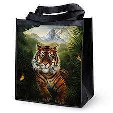 Jungle Tiger Landscape Reusable Grocery Tote Bag