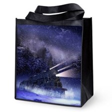 Snowy Night Train Reusable Grocery Tote Bag