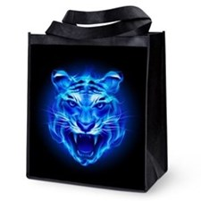 Blue Fire Tiger Face Reusable Grocery Tote Bag
