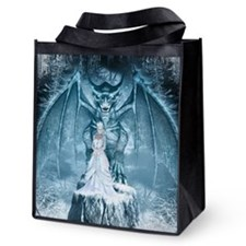 Ice Queen And Dragon Reusable Grocery Tote Bag