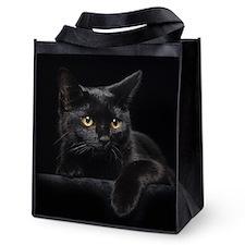 Black Cat Reusable Grocery Tote Bag