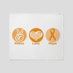 Peace Love Orange Hope Throw Blanket