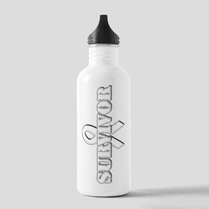 White Ribbon Survivor Stainless Water Bottle 1.0L