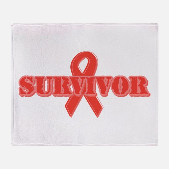 Red Ribbon Survivor Throw Blanket