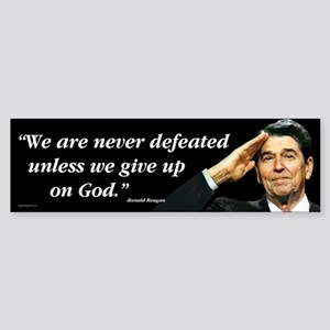 Reagan - We Are Never Defeated... Sticker (Bumper)